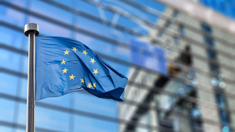 Flagge der Europäischen Union weht vor einem Bürogebäude; Thema: Standortbewertung